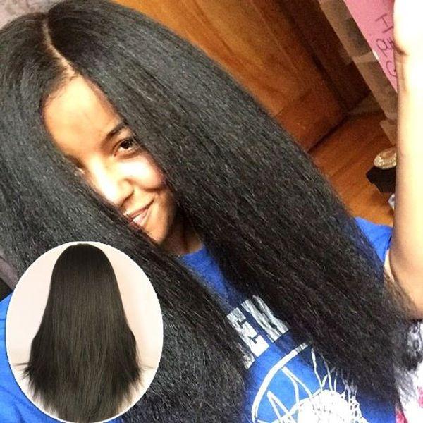 4x4 Glueless Soie Top Full Lace Perruques Lumière Yaki Brésilienne Vierge Cheveux Full Lace Perruques de Cheveux Humains Yaki Droite Pour Les Femmes Noires