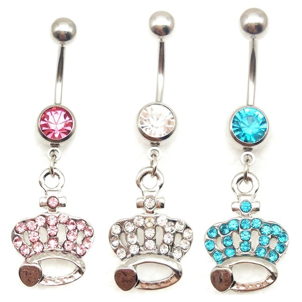 316L Surgical Steel 14g pink/white/lake blue rhinestone Crown pendant Dangle Navel Ring Belly Barbell Stud Button Body Piercing Kit