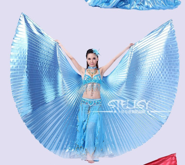 top popular Wholesale-1pcs Gold Egypt Costume Isis Belly Dance Wings Dance Wear Wing With Adjustable Neck Collar Hot Worldwide 2021
