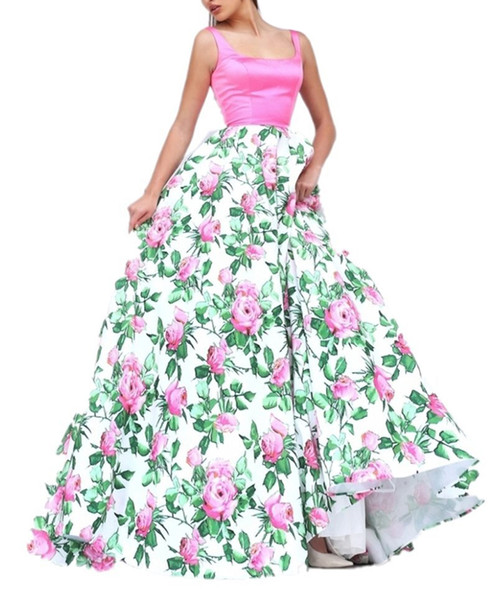 2019 Modern Square Neck Straps Women Prom Dresses Sleeveless Simple Satin Flower Print Skirts Evening Party Gowns Zipper Cheap Cocktail Gown