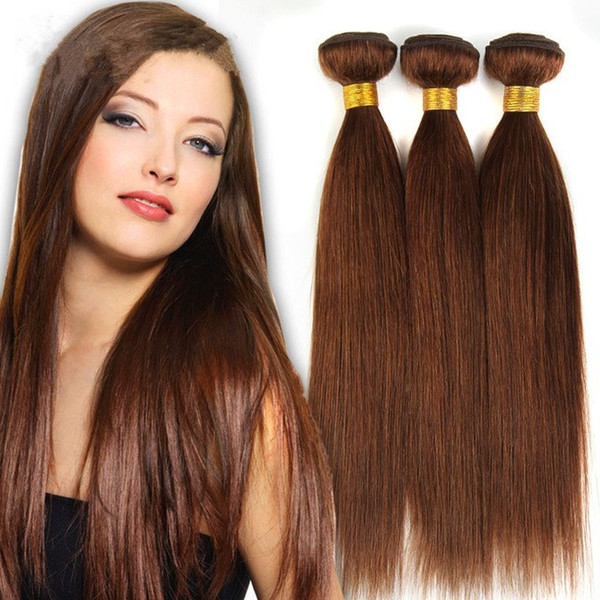 Large Discount-Grade 7A!!#6 light Brown Brazilian Virgin Remy Hair Silky Straight Weave 3Pcs Lot Chocolate Mocha Straight Human Hair Bundles