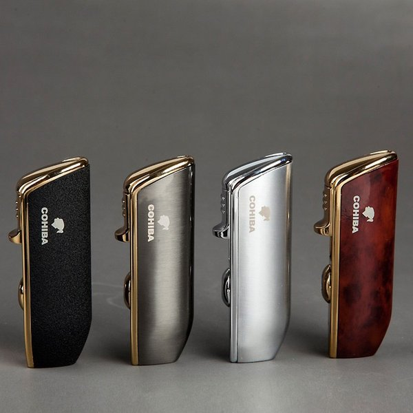 top popular New Arrival Wholesale COHIBA Accessories Pocket Quality Metal Snake Mouth Shape Butane Gas Windproof 3 Torch Jet Flame Lighter W Punch 2021