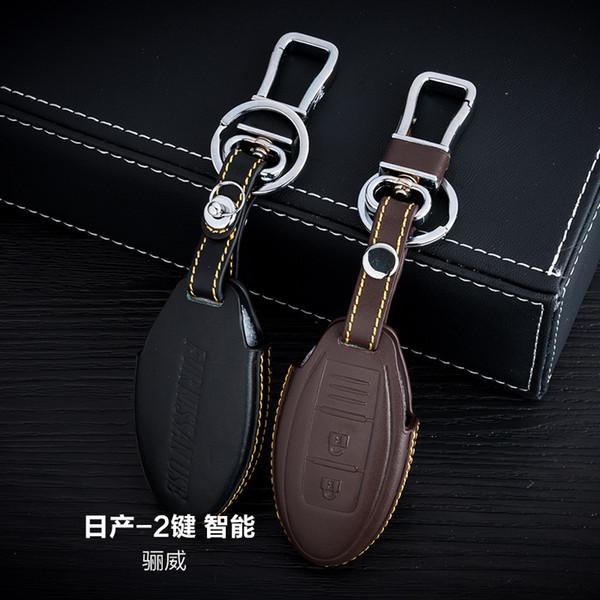 100% Genuine Leather Car Key Case Cover 2 Buttons Smart For Nissan Livina Car Key Holder Bag Car Key Accessorie