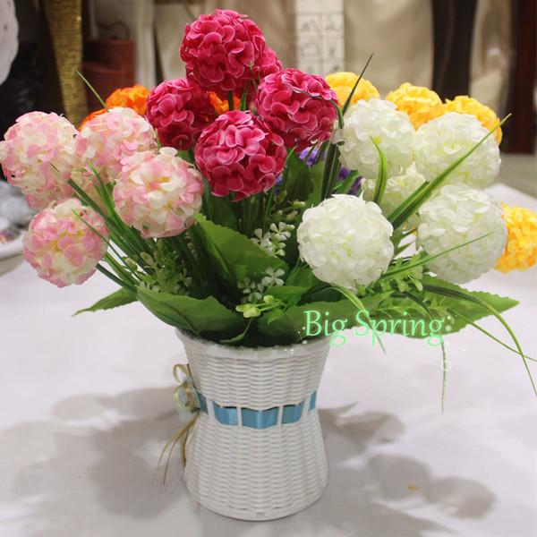 Silk Kissing 6 Heads Ball Flowers Bouquet Fake Artificial Florals ...