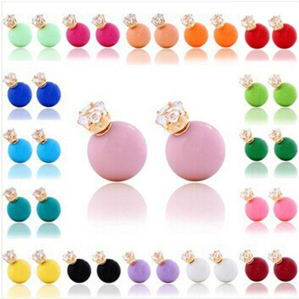 2016 Fashion Double Side Pearl Earrings Candy Colors Big Ball Bead Crystal Crown 925 silver Stud Xmas Gift
