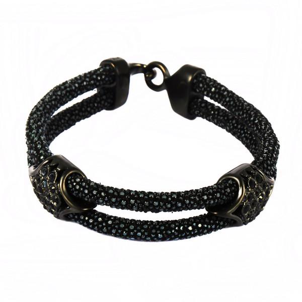 Estilo punky hecho a mano Stingray pulsera de cuero cuero 4 Tipo de acero inoxidable broche brazalete pulsera joyería para hombres mujeres regalo