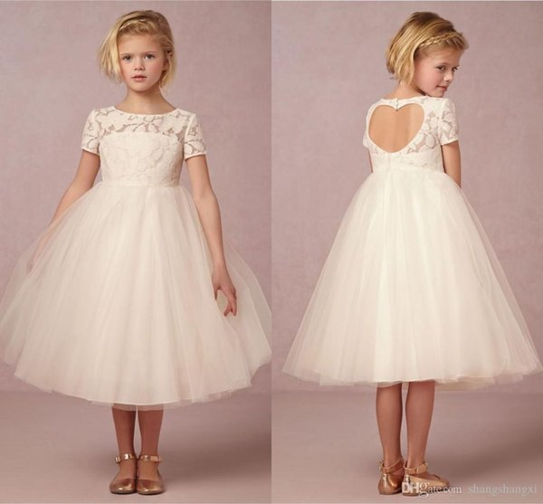 2017 Ivory Flower Girl Dresses Tulle Children Wedding Gowns Tea ...