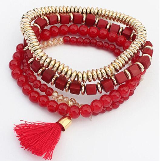 New Style Multi layer Elastic Bracelet Women Pompom Tassel Beads Bracelets 5 Colors Red/Blue/Black/Green/Apricot Bracelet 12pcs/lot
