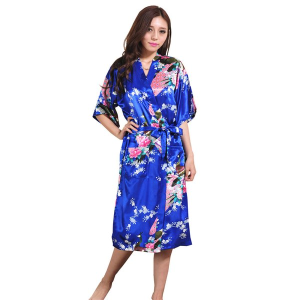 tout neuf 85b9c 54a02 2019 Wholesale Women Silk Satin Long Wedding Bride Bridesmaid Robe Peacock  Bathrobe Floral Kimono Robe Large Size Dressing Gown Peignoir Femme From ...