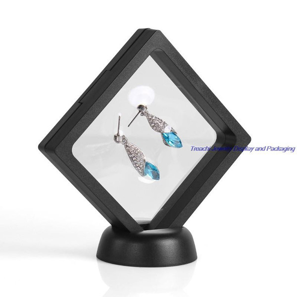 Free Shipping Bulk Price 4pcs/Lot Transparent Suspension Gift Window Box Gemstone Diamond Jewelry Display Stand Holder