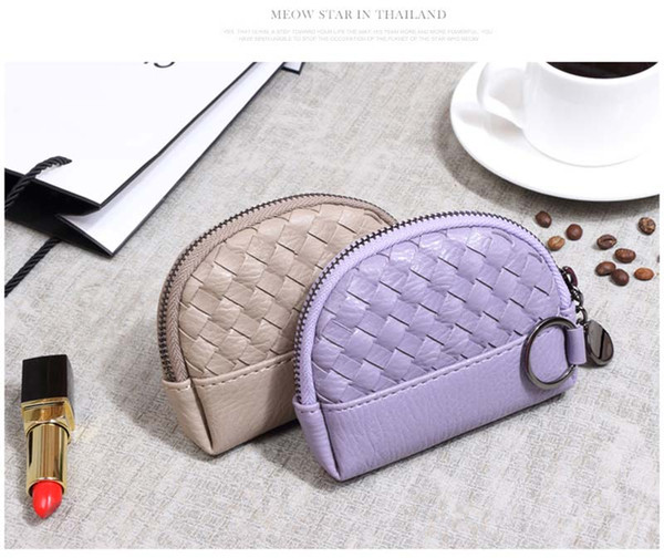 100pcs 2017 New Min weave shell Coin purses Ladies Pu Candy Color short wallets keychain 12*9*2.5cm