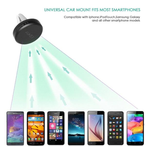 91a812b486b11b AUKEY Supporto da auto universale da 360 gradi Supporto sfiato magnetico  per smartphone Supporto per telefono