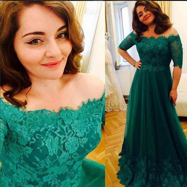 Jade Green Plus Size Prom Dresses 2016 Off The Shoulder Lace Appliques Evening Gowns Half Sleeves Tulle Maxi Mother Of The Bride Dress