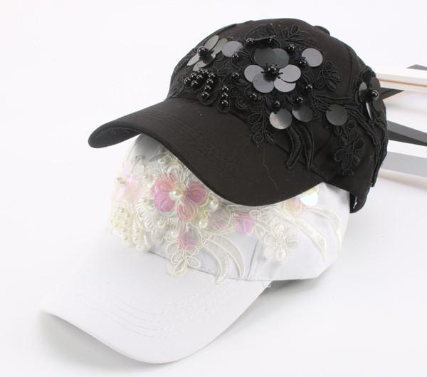 Embroidered beaded cap and female south Korean baseball cap and hat lady summer hip hop hip hop street sun hat