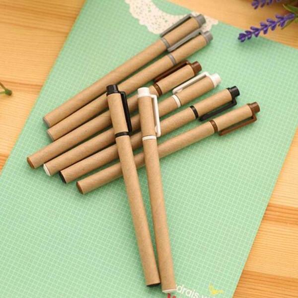 20pcs/lot Kraft Paper Pen Environmental Friendly Recycled Paper Ball Point Pen Gel Pens School Office Supplies