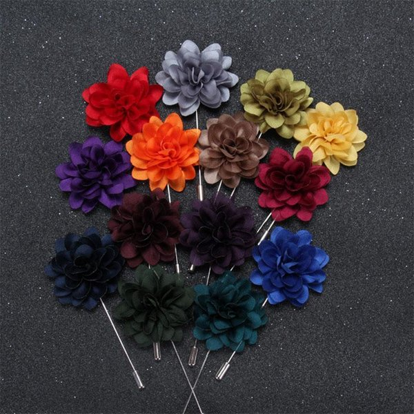 Men brooch Flower Lapel pin suit Boutonniere exquisite Satin cloth simulation pin 12 colors button flower brooches Wholesale Jewelry