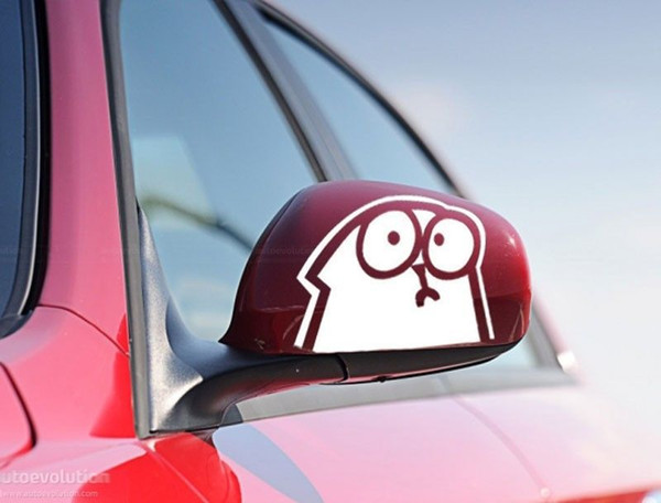 set of two FUN DECAL SIMON'S CAT CAR WINDOW taptop phone wall STICKER AUFKLEBER decal / reflective silver