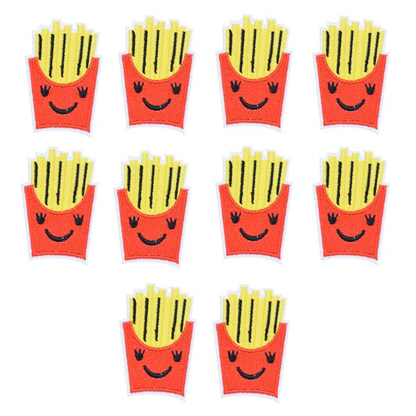 10PCS Funny Chips Embroidery Patches for Clothing Bags DIY Iron on Transfer Applique Patch for Garment Sew on Embroidery Badge