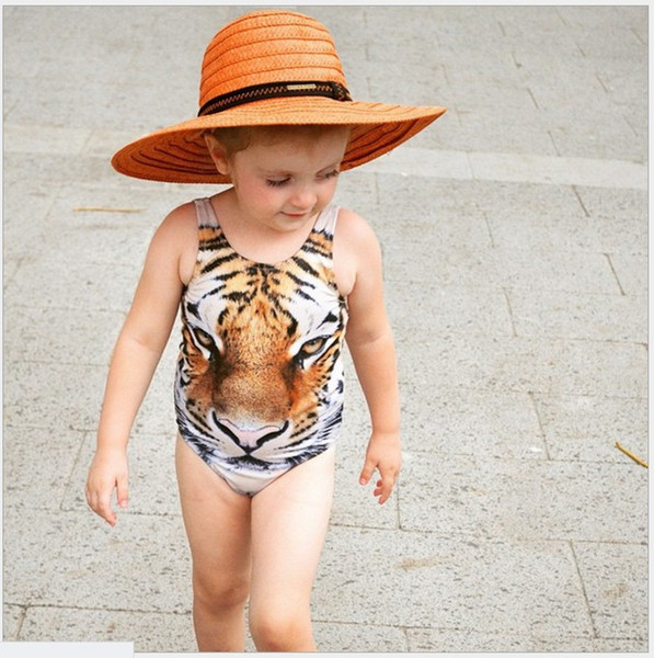 2016 New Summer Girls One-Piece Tiger Printed Swimsuit Kids Swimwear Baby Girl Bathing Suits Children Swim Clothing For 80-110cm 8pcs/lot