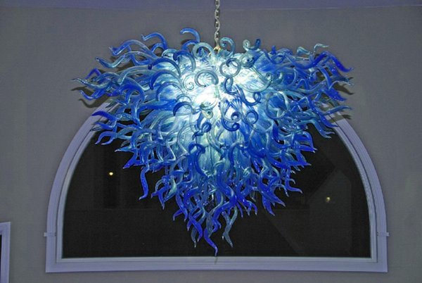 Neue Produkte Blau und Türkis Farbe Glas Kronleuchter Hochzeit Tischdekoration Mittelstücke Mundgeblasenem Glas Kronleuchter Kristalle