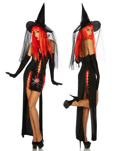 Encantadora nueva bruja sexy disfraz halter sin mangas con cordones diseño bruja gótica hechicera disfraz fiesta de halloween M-XL W8910