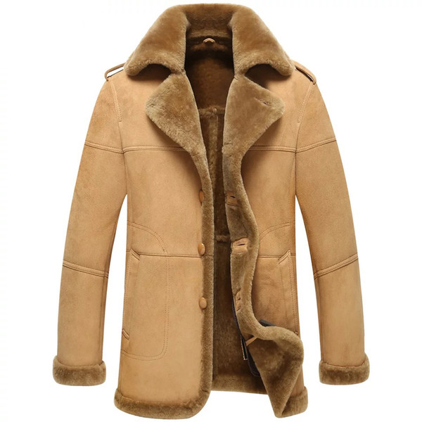 Fall-Leather suede sheepskin coat men genuine leather jacket fur ...