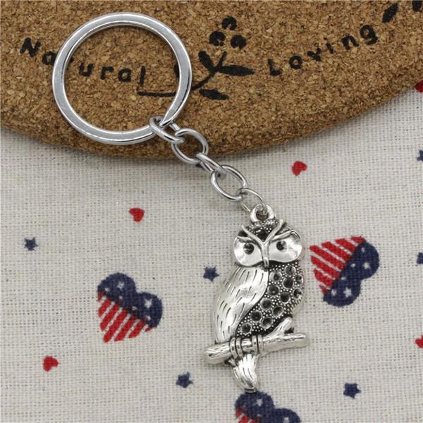 Men Jewelry Key Chain, Fashion Diameter 30mm Key Ring Metal Key Chain Accessory,Vintage Silver owl 41*22mm Pendant