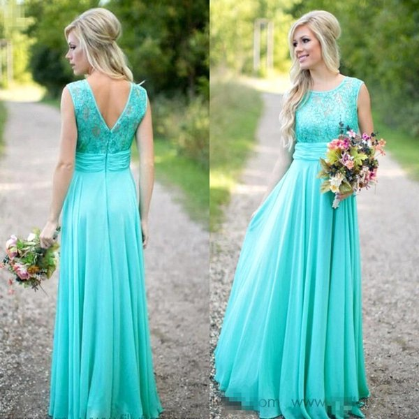 New Arrival Turquoise Long Chiffon Bridesmaid Dresses 2016 Scoop ...
