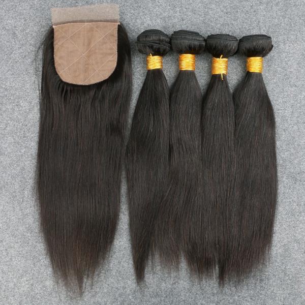 Slove Best Quality 8A Brazilian Human Virgin Hair 4 Bundles with 1 Silk Closure Free shipping High Quality No tangle&shedding Hair