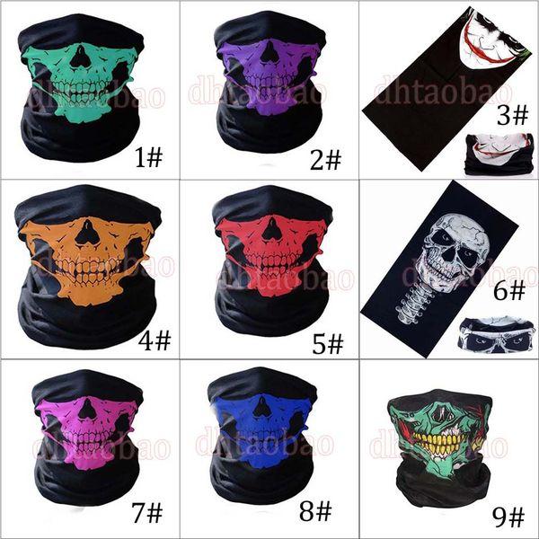 MOQ = 50PCS 25 * 49.5cm Halloween Skull Bandanas Cuello Mascarilla Pañuelo en la cabeza Multifuncional Bufanda Turbante sin costuras Unisex 9 colores