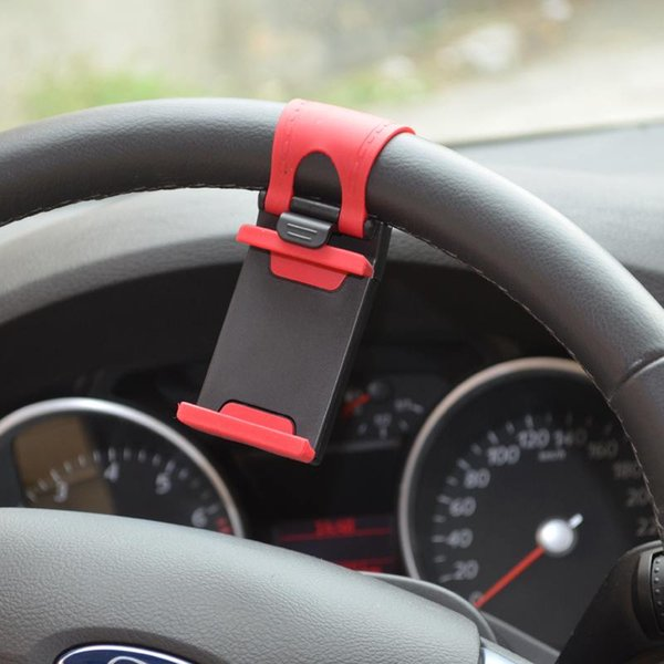 Hands Free Car Steering Wheel Mobile Phone Holder Clip Buckle Socket for iphone 6S 6S Plus 5S 5C for Samsung for HTC