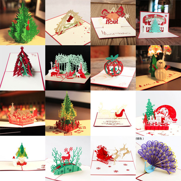 Wholesale Creative Kirigami & Origami 3D Pop UP Greeting & Gift Christmas Cards Merry Christmas Tree & Gifts Free Shipping