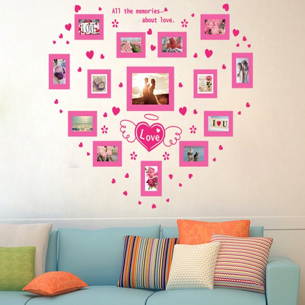 Pink Love Heart Photo Frame Wall Stickers Can Be Removed Bedroom ...
