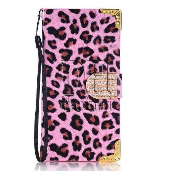 Newest PU Leather Leopard Grain Luxury Diamond Rhinestones Wallet Cover For iPhone 6 6s Plus 4 5 Samsung Galaxy S6 Edge Note5 300Pcs