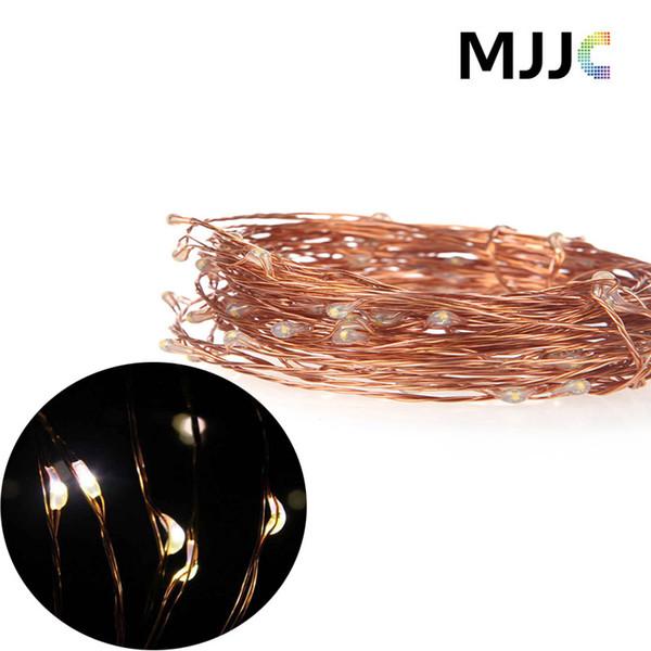 MJJC 10M 100 LED Copper String Light 12V Waterproof Outdoor Christmas Wedding Party Fairy Decoration Lights +US EU plug Power Adapter