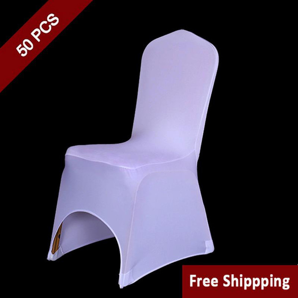 50PC White Polyester Spandex Wedding Chair Covers for Ceremony Event Folding Hotel Banquet Seat Chair Covers New Universal Size Chair Covers