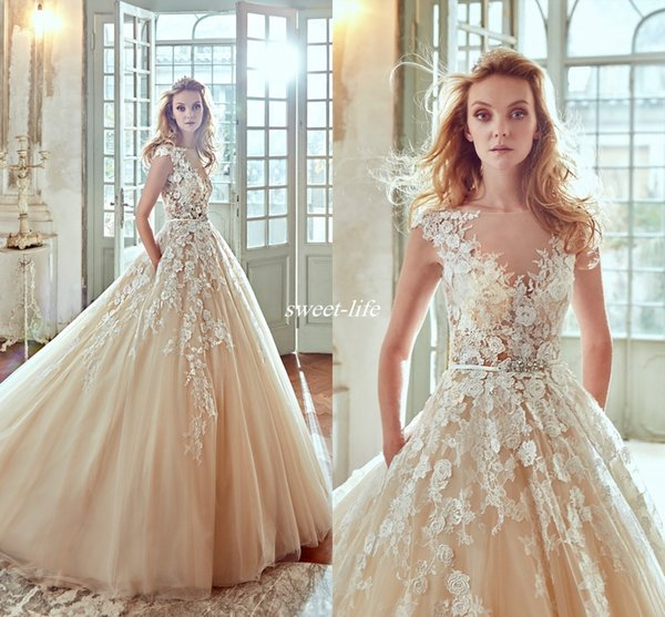 Modest Champagne Lace Wedding Dresses with Pocket Illusion Neck Cap Sleeve Crystal Belt Chapel Train 2019 Vintage Bridal Wedding Gowns Cheap