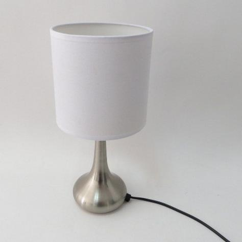 Fashion Simple Fabric Lampshade Metal Droplets Touch Dimmer Base E14,110V/220V Table Lamps Desk Reading Lights Lamp Bedroom Beside Lighting