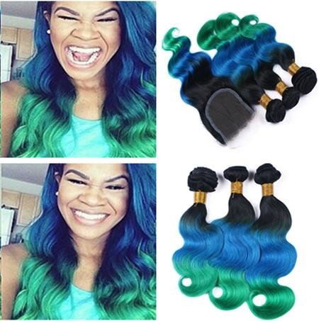 Virgin Brazilian Body Wave Ombre Human Hair Weaves with Closure 3Tone 1B Blue Green Ombre 4x4 Lace Closure with Wavy Human Hair 3Bundles
