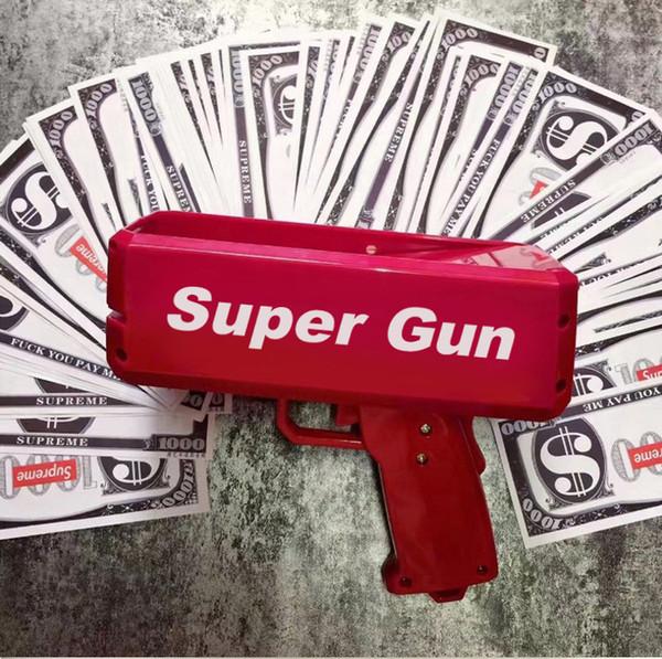 Dinheiro Canhão Dinheiro Arma Super Dinheiro Arma Moda Brinquedo Faça-o Chuva Dinheiro Arma Brinquedos de Presente de Natal Vermelho Pistola Crianças Posando Legal Gif