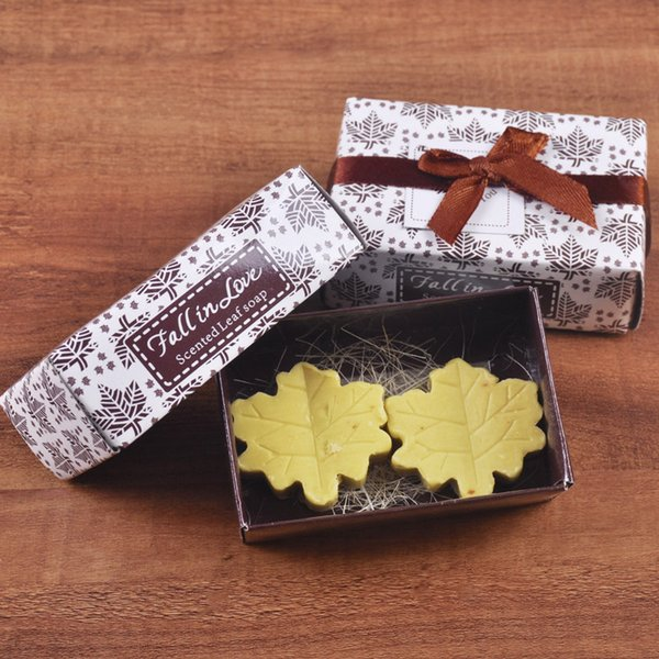 Maple Leaf Soap Fall in Love Scented Leaf Soap Wedding Baby Shower Favors Gifts 2pcs/set/box DHL free shipping