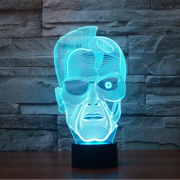 2017 New Design Arnold Schwarzenegger 3D Optical Lamp Night Light 9 LEDs Night Light DC 5V Colorful 3D Lamp