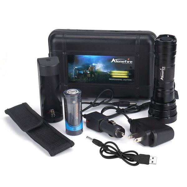 Alonefire X160 CREE XM-L2 LED High power lighting flashlight torch With 26650 battery charger