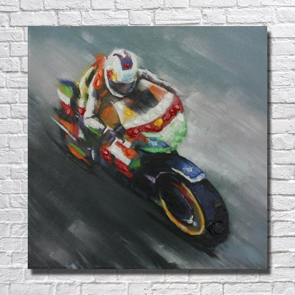 Free shipping abstract canvas art decor handmade motorcycle oil painting picture modern living roo walll art canvas
