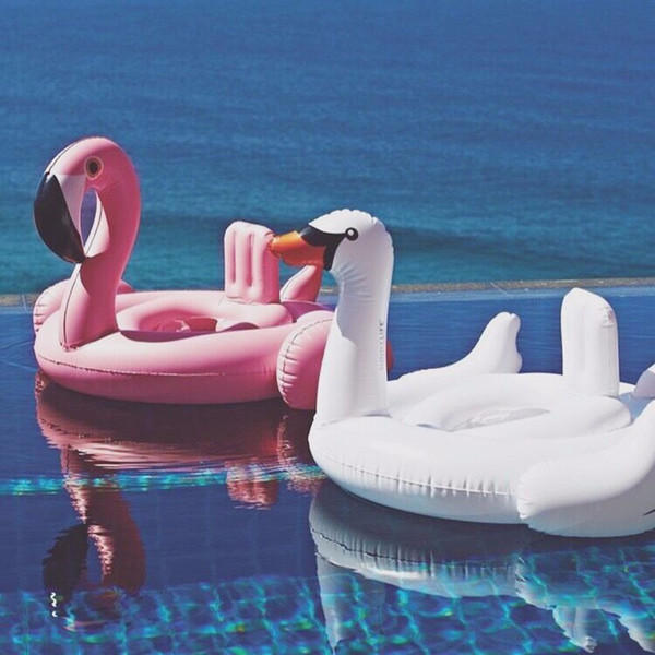 top popular Summer Baby Pink Flamingo Swimming Ring Inflatable Swan Swim Float Water Fun Pool Toys Swim Ring Seat Boat Kids Swimming 2019
