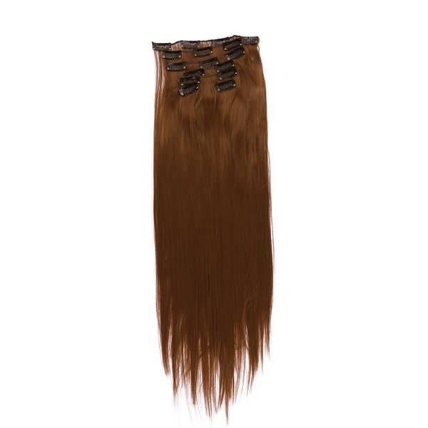 """22"""" 7pcs/lot Long Straight Full Head Clip in Hair Extensions Synthetic Hairpieces Heat Resistant Fiber"""