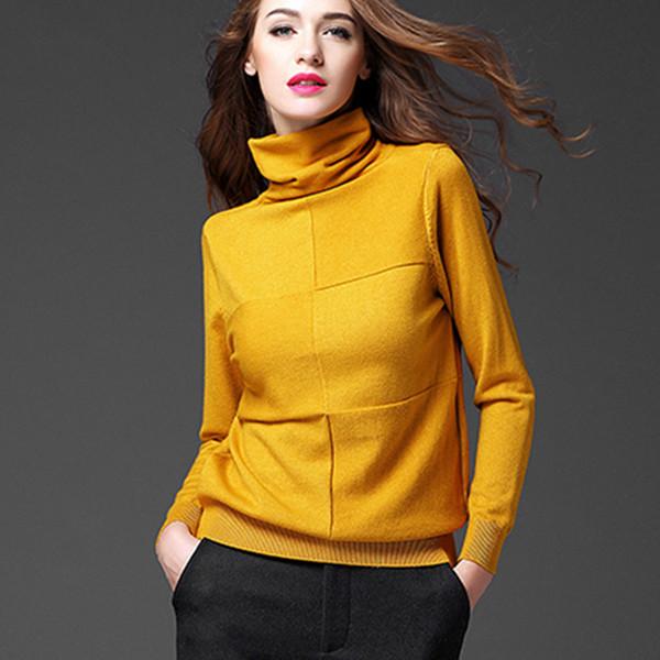 Gros-Femmes Pile Collier De Cachemire Chandail 2017 Hiver Carré Design Pull Pull Femme Plus La Taille 3XL Femmes Pull À Col Roulé