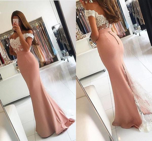 Blush Pink Mermaid Prom Dresses Sweetheart Off Shoulder Short Sleeves Appliques Embellished Satin Floor Length Backless Evening Gowns