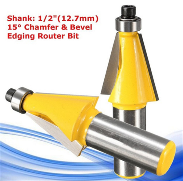 15 Degree Chamfer & Bevel Edging Router Bit - 1/2 Inch Shank 2-5/8 Inch (67mm) Wood Cutter For Woodworking Hand Tool Parts