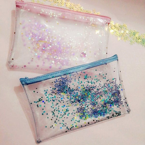 best selling PVC Bling Star Pattern Cosmetic Bag Transparent Waterproof Makeup Bag with Zipper Travel Wash Case Pouch Toiletry Organizer Bag